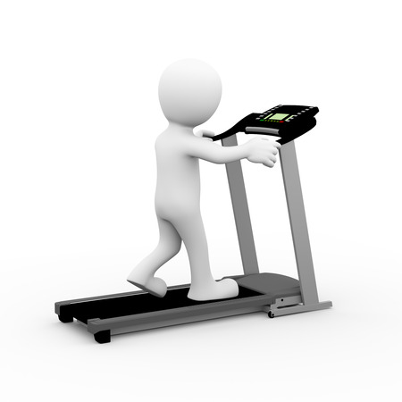 white people: 3d rendering of man exercising and walking on treadmill. 3d white person people man Stock Photo