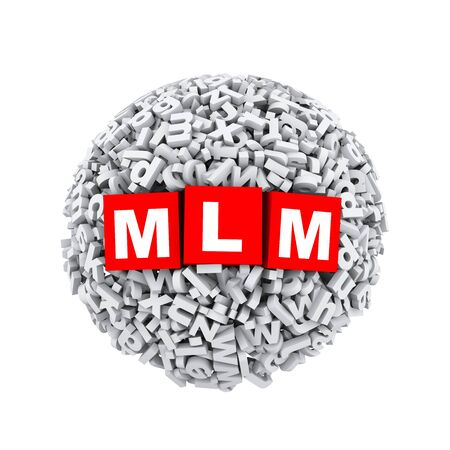 3d rendering of mlm cubes boxes inside sphere ball made up of random alphabet character letter