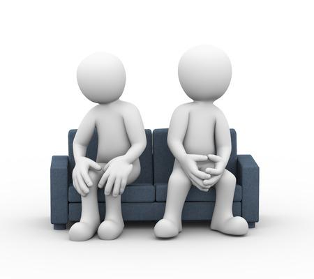 3D-Darstellung der anderer Meinung und Streit zwischen Mann, Frau sitzt auf Sofa. Familienproblem, Menschen Konflikt- und Streit