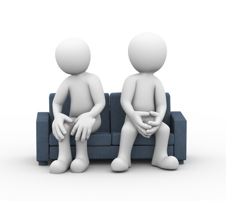 husband and wife: 3d illustration of disagree and dispute between husband wife sitting on sofa. family problem, people conflict and dispute