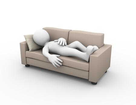 3D-Rendering von müde und erschöpft Mann schlafen auf bequemen Sofa. 3D-weiße Person Mann