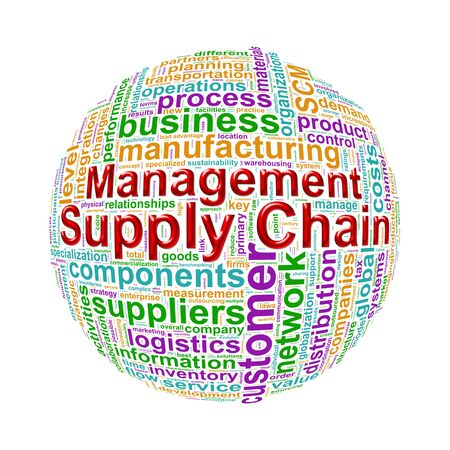 scm: Illustration of word tags wordcloud ball sphere of scm - supply chain management Stock Photo