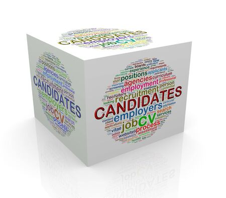3d rendering of cube box of wordcloud word tags of candidates