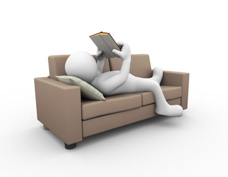 3d rendering of man relaxing and reading book on couch. 3d white person people man.