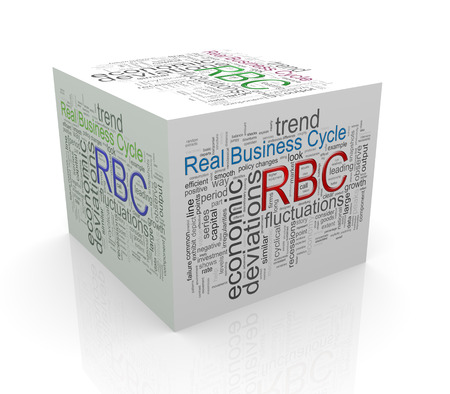 driven: 3d rendering of cube box of wordcloud word tags of rbc - real business cycle