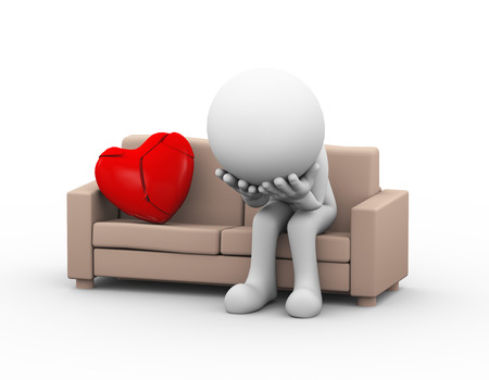 sad: 3d illustration of upset sad loser lover sitting on sofa near cracked broken heart. 3d white person people man