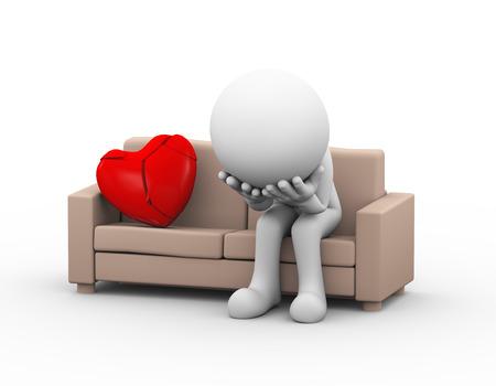 corazon roto: 3d ilustración de malestar amante perdedor triste que se sienta en el sofá cerca agrietado corazón roto. 3d blanco, persona, gente hombre