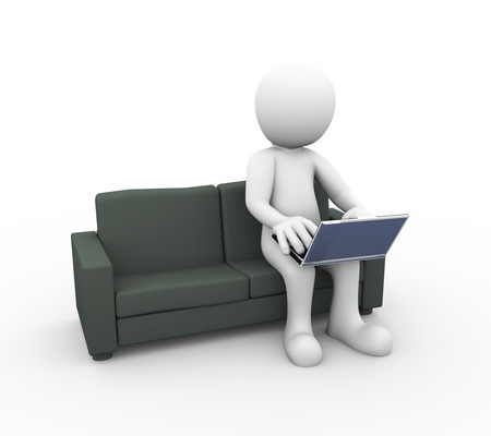 browsing: 3d rendering of man working on laptop sitting on sofa. 3d white person people man