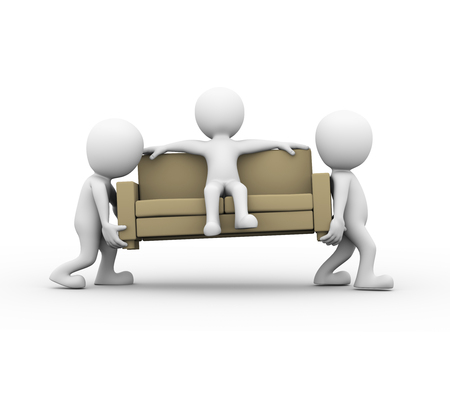 3d rendering of people carrying a sofa with man sitting on it. 3d white person man.