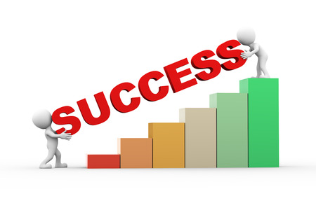 success man: 3d rendering of progress bar chart and people with word text success. 3d white person people man