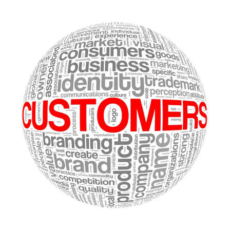 Illustration of word tags wordcloud ball sphere of customers Stock Photo