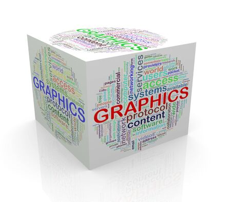 cube box: 3d rendering of cube box of wordcloud word tags of graphics