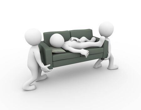tiredness: 3d rendering of people carrying sofa with a man sleeping on it. 3d white person man