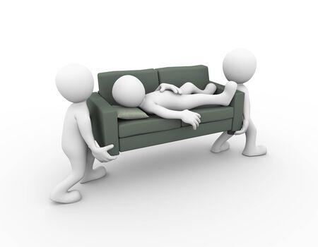 gente durmiendo: Representación 3d de las personas que llevan un sofá con un hombre que dormía en él. Persona 3d hombre blanco