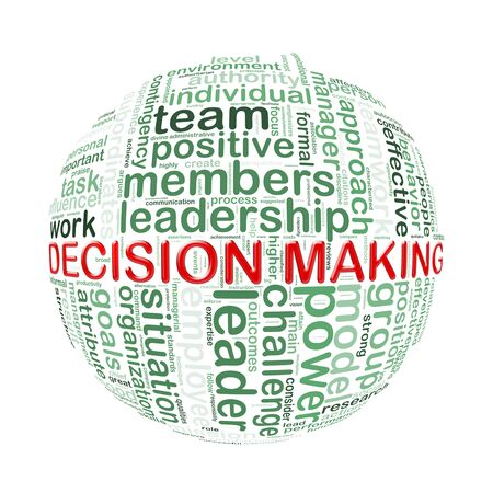assumption: Illustration of word tags wordcloud ball sphere of decision making