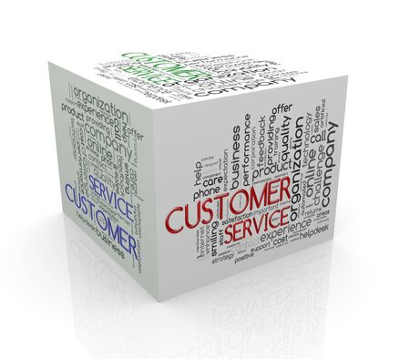cube box: 3d rendering of cube box of wordcloud word tags of customer service Stock Photo