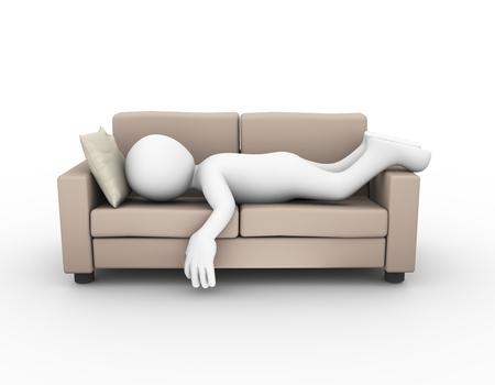 편안한 소파에 피곤하고 지친 남자 수면의 3d 렌더링. 3D 흰색 사람 남자
