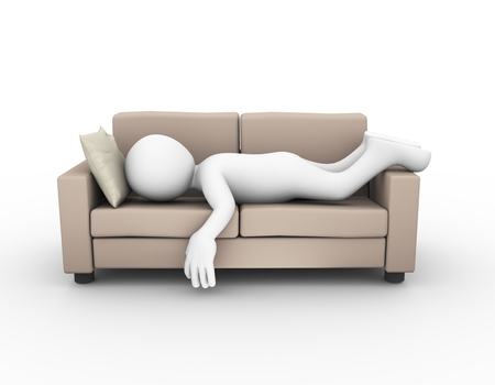 white person: 3d rendering of tired and exhausted man sleeping on comfortable sofa. 3d white person man
