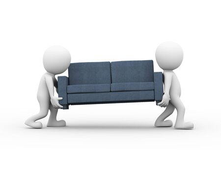 white person: 3d rendering of mover people carrying sofa. 3d white person man Stock Photo