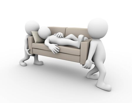 people sleeping: 3d rendering of people carrying a sofa with man sleeping on it. 3d white person man.