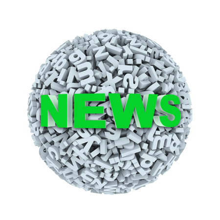 language: 3d rendering of word news on sphere ball made up of random alphabet character letter Stock Photo