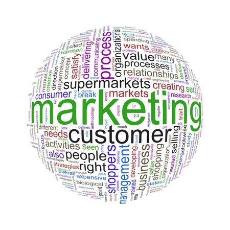 marketshare: Illustration of word tags wordcloud ball sphere of marketing
