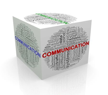surfing the net: 3d rendering of cube box of wordcloud word tags of communication