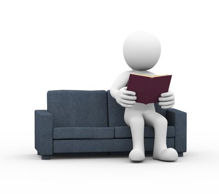 sentarse: Representación 3D de hombre sentado y leyendo el libro en el sofá. 3d blanco, persona, gente hombre. Foto de archivo