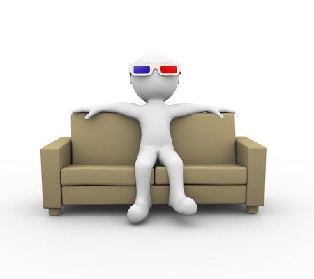 3D glasses: 3d rendering of man wearing red blue 3d anaglyph glasses sitting on sofa. 3d white person people man Stock Photo
