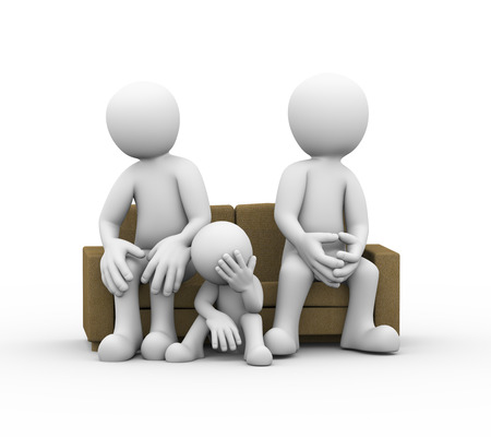 conflict: 3d illustration of upset child, sofa and angry couple sitting on sofa. family problem, people conflict and dispute Stock Photo