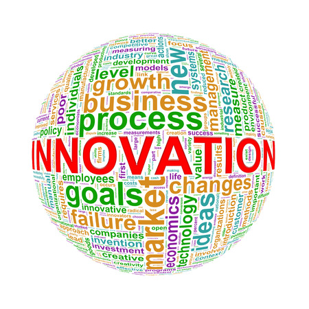 innovation word: Illustration of word tags wordcloud ball sphere of innovation Stock Photo