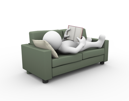 man illustration: 3d rendering of man relaxing and reading book on sofa. 3d white person people man Stock Photo