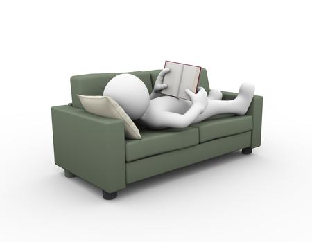 lectura: Representación 3D de hombre relajante y leyendo el libro en el sofá. 3d blanco, persona, gente hombre