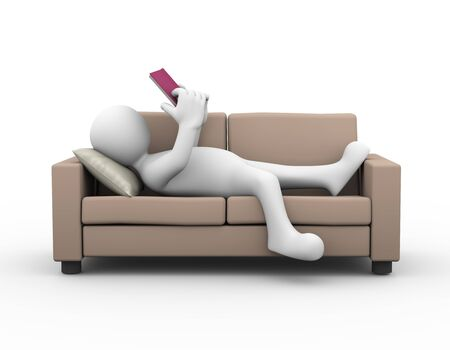 white person: 3d rendering of man relaxing and reading book on couch. 3d white person people man