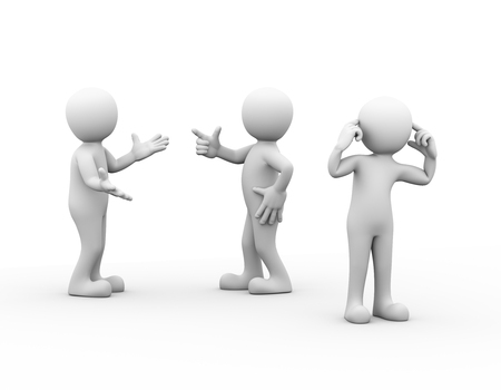 men standing: 3d rendering of people fighting, another person putting fingers in his ears. Concept of conflict and dispute between couple. 3d white person people man. Stock Photo