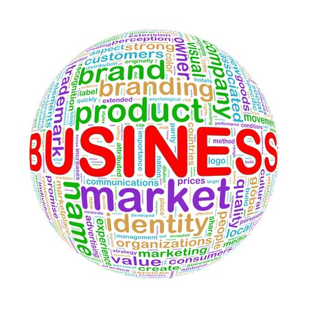 Illustration of word tags wordcloud ball sphere of business