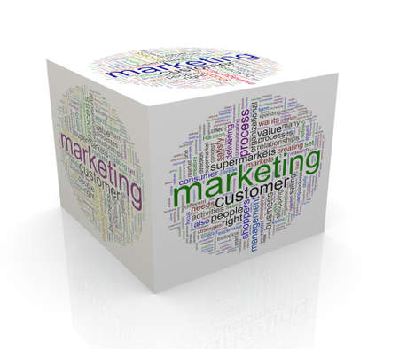 cube box: 3d rendering of cube box of wordcloud word tags of marketing