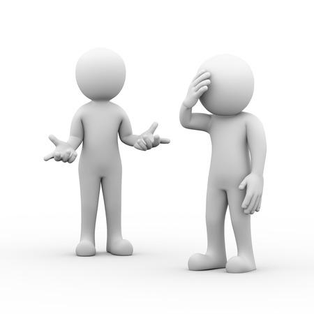 3D-rendering van de mens die hoofdpijn tijdens argument gevechten geschil met partner. Concept van conflict en geschil tussen koppel. 3d blanke mensen man. Stockfoto