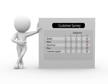customer survey: 3d rendering of businessman standing with product customer survey report. 3d white person people man
