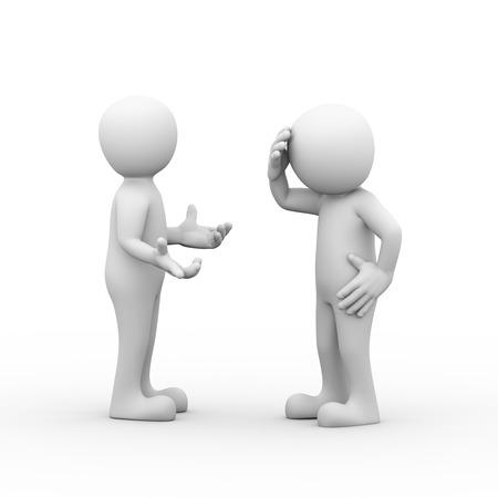 3D-Rendering von Menschen mit Kopfschmerzen während der Kampf auf umstrittene Problem. Konzept von Konflikten und Streitigkeiten zwischen Paar. 3D-weiße Person Personen Mensch Standard-Bild - 47071545