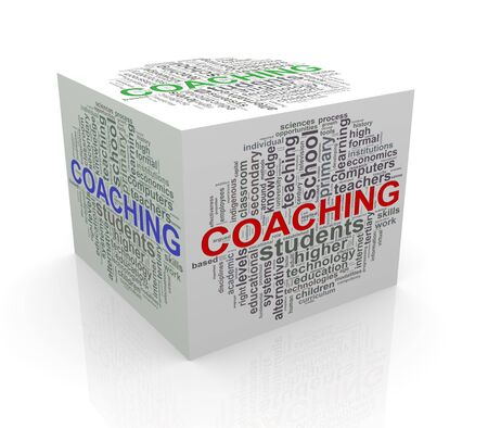 cube box: 3d rendering of cube box of wordcloud word tags of coaching