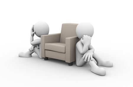 unhappy family: 3d rendering of people sitting near sofa showing concept of family problem, conflict and dispute