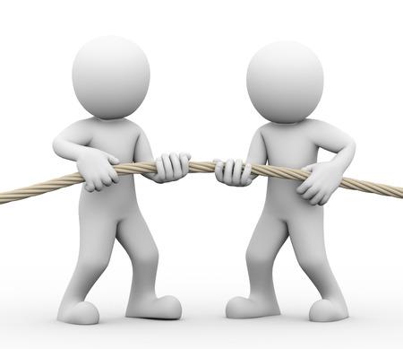 conflicto: Representación 3D del hombre tirando de la cuerda que muestra el concepto de tira y afloja entre las personas. Concepto de conflictos y disputas entre la pareja