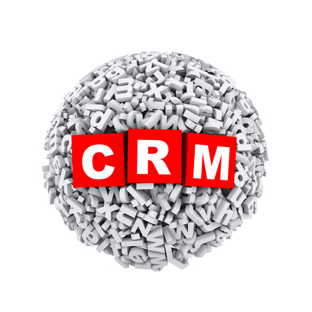 relational: 3d rendering of crm cubes boxes inside sphere ball made up of random alphabet character letter