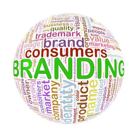 wordcloud: Illustration of word tags wordcloud ball sphere of branding Stock Photo