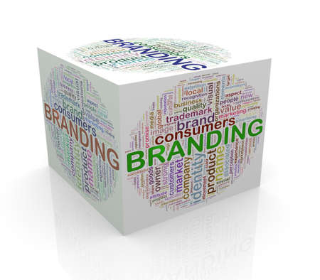 branded product: 3d rendering of cube box of wordcloud word tags of branding