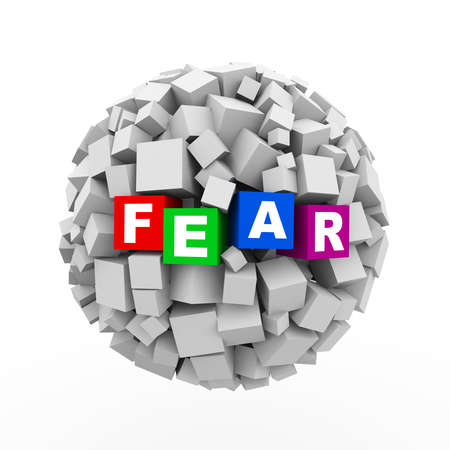 apprehension: 3d rendering of abstract cubes boxes sphere ball of word text fear Stock Photo