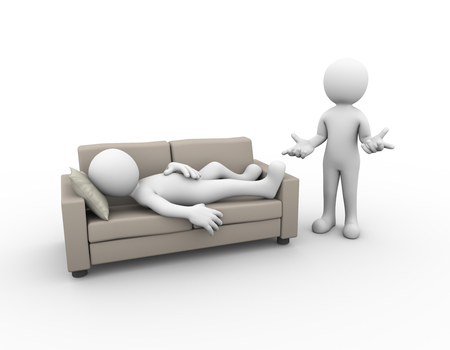 unhappy family: 3d illustration of person sleeping on sofa while another man with no idea gesture. family problem, people conflict and dispute Stock Photo