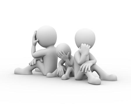 conflict: Representación 3D de pareja con niño sentado espalda con espalda. Presentación del problema familiar, el conflicto y la disputa personas