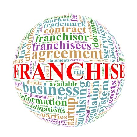 specifies: Illustration of word tags wordcloud ball sphere of franchise Stock Photo
